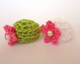 2 miniature hats crocheted fuchsia, lime green and white