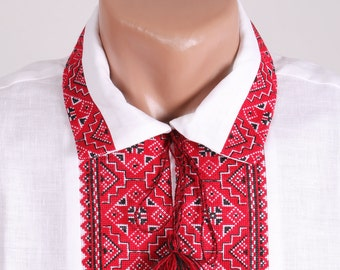 Red colour. Vyshyvanka for men. Traditional embroidery. Ethnic embroidered men's shirt. Ukrainian national clothing.