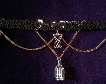 Break free from the chains Luciferian/birdcage choker - lucifer occult baphomet sigiloflucifer gothic birdcage witch magic
