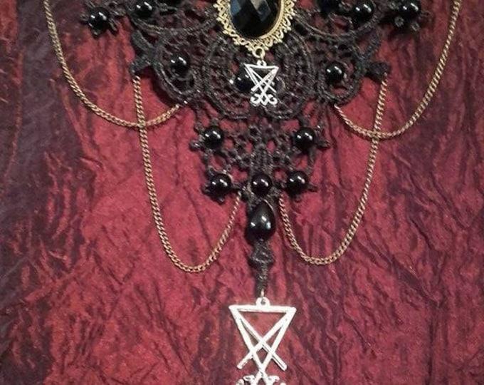 Luciferian Choker - lace neckwear sigil of lucifer gothic occult