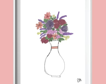floral print, floral graphic design, college dorm gift, college student, graphic print, floral wall art, floral wall print
