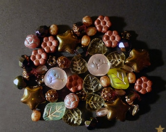 48 mixed Czech glass beads of pink, purple, copper...