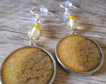 Earrings Silver Gold and yellow glass beads and silver cabochon