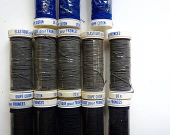 bobine 20 m fil élastique marque Beaufil couleur noire, pour couture fronce et creation bracelet, bijoux fins