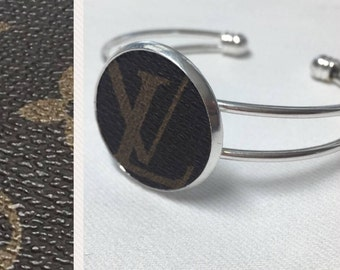 Authentic Louis Vuitton Repurposed Cuff Bracelet Monogram LV Cuff