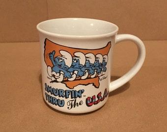 Vintage Smurfs Mug - Smurfin' Thru The USA - Smurf Travels America Collection - 1982