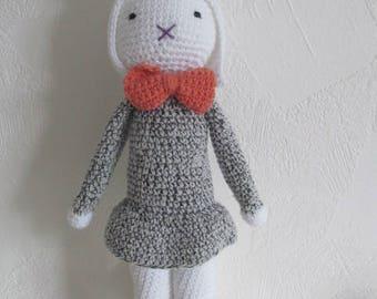 Cherry blanket crocheted by hand 100% cotton, amigurumi, plushie, stuffed rabbits