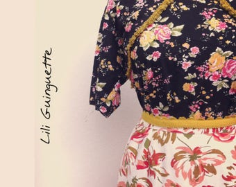 SET skirt and top printed flowers