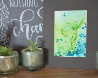 Alcohol Ink - Green and Blue 5x7 - 8x10 matted