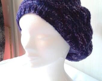 Purple colored wool women beret