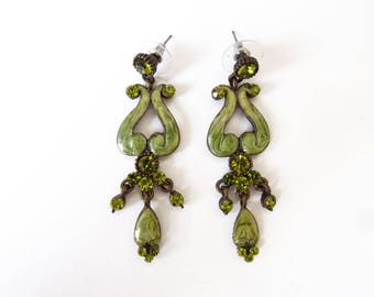 Boucles d'oreilles pendantes chandelier à vis, fantaisie, vintage, vert et bronze à strass
