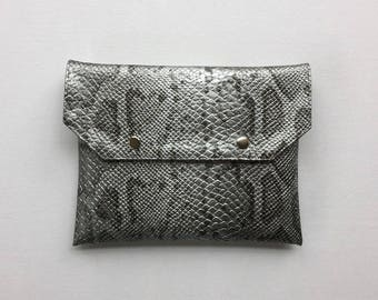 Multi-use silvery gray faux leather python clutch