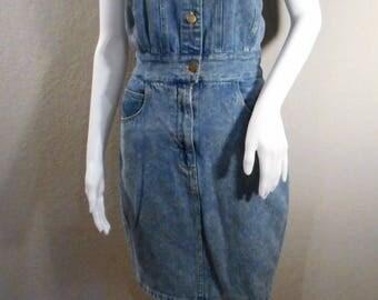 Vintage 90's denim dress/waist 27-28/ button up zip up tank top pockets Avon Fashions