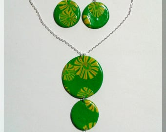 Necklace - Round earrings geometric green and yellow and green
