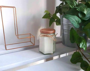 Lemon Scented Candle in Rose Gold Glass Jar