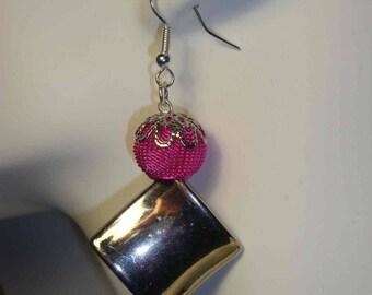 Earrings, silver and pink fuchsia, Pearl metal look, wedding