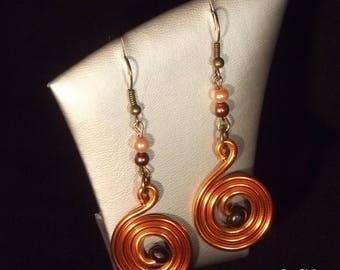 Orange aluminum earrings - beads