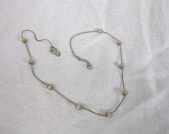 Silver Tone Designer Express Snake Chain Necklace with Stone Beads