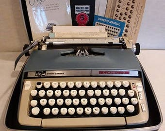 """Adorable 1960s Smith Corona """"Classic 10"""" Portable Manual Typewriter- Original Case & Papers"""