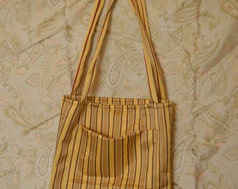 Handmade striped tote bag