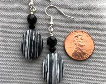 Black & White Oval Drop Earrings