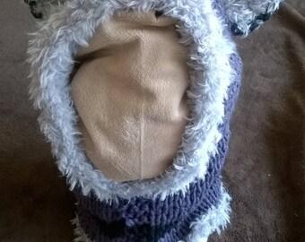 Fox hood / kids hooded snood hand knitted