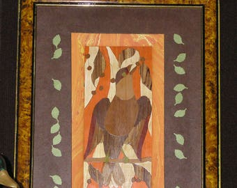 Picture inlaid wood Brown and orange