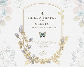 Watercolor Night Flower Shield Shape, Night Flower Crest Clipart, Hydrangea Crest, Roses Crest, Night Flower Clipart, Wedding Invitation