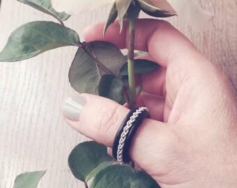 Ring Ring inspiration Tin thread Sami - Celtic ring braided black leather viking Norse Bohemian