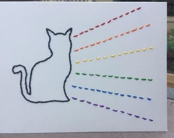 Embroidered Cat and Rainbow Greeting Card