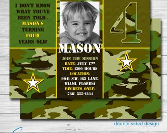 Camouflage Army Birthday Invitation | Camo | Tanks | Military