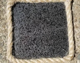 4X4  Black Cork Coaster with Rope Boarder.