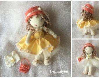 Doll Amigurumi Camille-two Look Fashion dress Princess skirt YELLOW Organza Hat gift birthday girl Christmas-Sweet and Romantic Doll