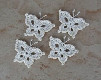 set of 4 Ecru crocheted butterflies