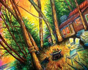 "Michigan Postcard, Camping, Sunset, Bonfire, Watercolor - 5"" x 7"""