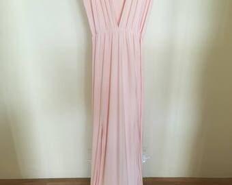 Light salmon pink v-neck plunge maxi dress s 12 AUS
