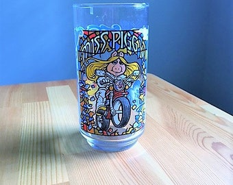 Miss Piggy glass Motorcycle The great Muppet Caper McDonalds McDonald's Collectibles 1980's Ms. Piggy from The Muppets, Jim Henson