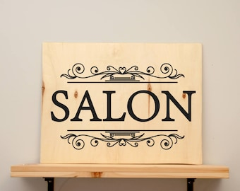 Salon - vinyl on varnished wood (choose from 2 sizes and a range of colours) - Home decor