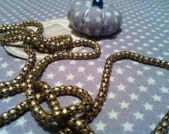 Snake, 3 mm, sold per 1 meter, antiqued bronze chain