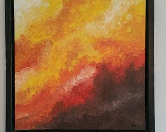 Autumn inferno, original acrylic painting on canvas with frame