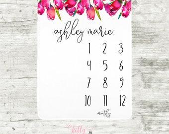 Tulips Baby Milestone Blanket, Month Baby Blanket, Personalized Monthly Blanket, Baby Girl Blanket, Watch Me Grow Blanket, Girl Shower Gift