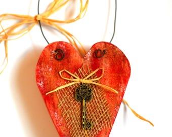 Red, reclaimed wood, heart and key, door hanger