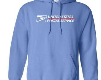 USPS Carolina Blue Hooded Postal Sweatshirt.