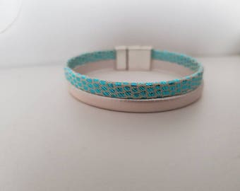 Turquoise and White Leather Cuff Bracelet Pearl magnetic clasp