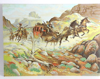 Vintage Western Stagecoach Paint By Number Painting