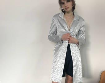 Vintage Floral Silver Blue Jacket