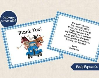 Little Blue Truck Thank You, Little Blue Truck Printable Thank You Note, Little Blue Truck First Birthday Thank You, Little Blue Truck Party