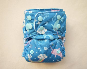 Cloth Diapers, Pocket Diapers, Cloth Diaper Cover, Narwhal, Cloth diaper pattern, modern, washable diaper, Rainbow diapers,  One size diaper