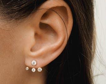 Gold Ear Jacket  - Ear jacket earrings - Dainty earrings - Dainty ear jacket - Minimal ear jacket - Minimal jewelry - E088