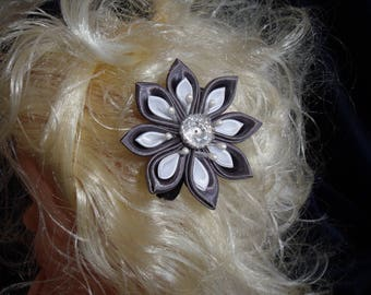 With satin Kanzashi flower Alligator Clip